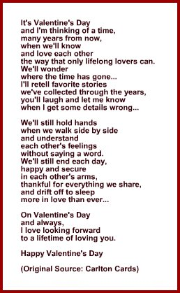 Poem Or Verse For Wife Or Husband For Valentines Day Card