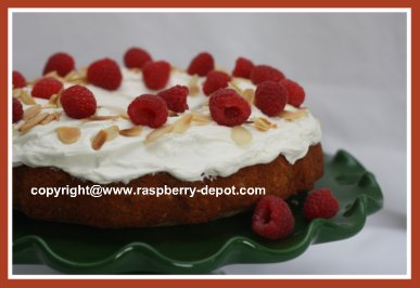 Picture of Almond Cake with Raspberries on Top