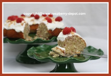 Almond Bundt Cake with Fresh Raspberries