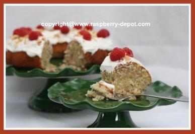 Almond Bundt Cake with Fresh Raspberries