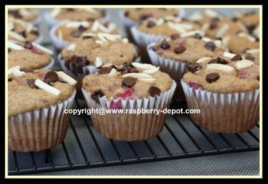 Banana Muffins with Raspberries