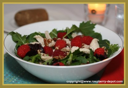 Green Salad with Chicken and Fresh Raspberries
