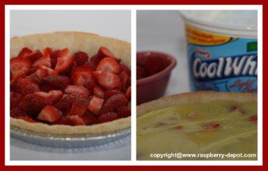 Making a Strawberry Raspberry Pudding Pie Recipe