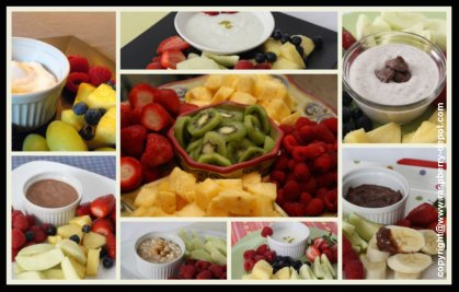 Collage of the Best Fruit Dips for Trays