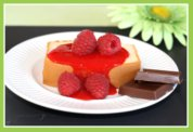 Raspberry Sauce on Pound Cake for Easter Dessert