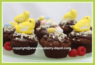 Recipe using Peeps for Easter - Chocolate Raspberry Muffins