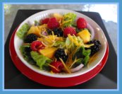 Raspberry Salad recipe with Lettuce and Peaches and Blackberries