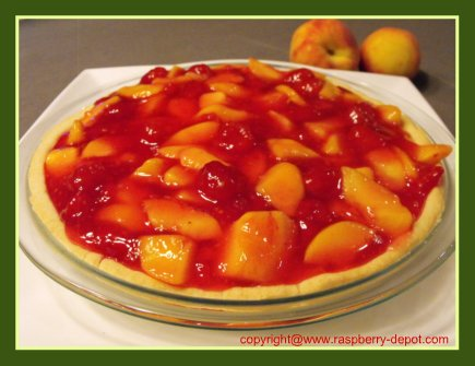 Fresh Peach Raspberry Pie with Shortbreal Like Crust and No-Bake Fruit Pie