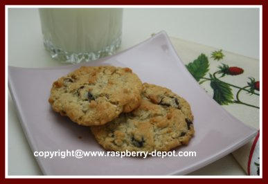Healthy Homemade Oatmeal Raspberry Chocolate Chip Cookies