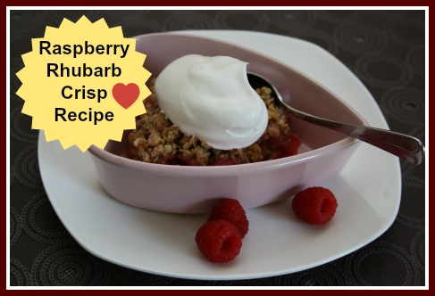 Raspberry Rhubarb Crisp Recipe, homemade dessert idea with raspberries and rhubarb