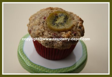 Delicious Homemade Muffins with Kiwi and Fresh or Frozen Raspberries