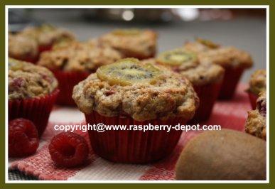 Raspberry and Kiwi Muffins Recipe