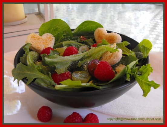Leafy Green Salad with Heart Shaped Crotons Recipe