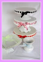 Beautiful Cool Cake and Pastry Stands with Ribbon