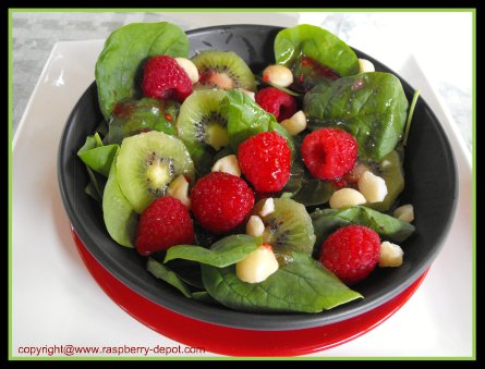 Raspberry Spinach Salad Recipe Including Kiwi