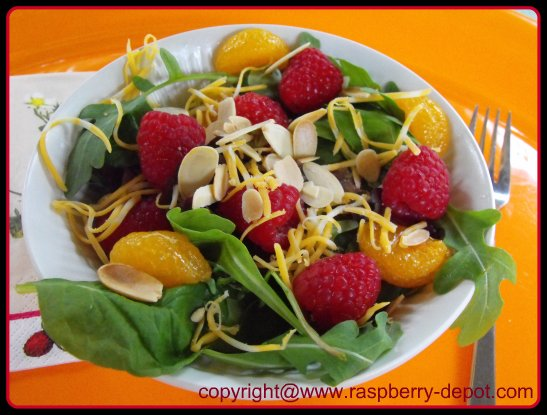 Raspberry Salad Mandarin Salad Recipe with Leafy Mixed Greens and Fresh Raspberries