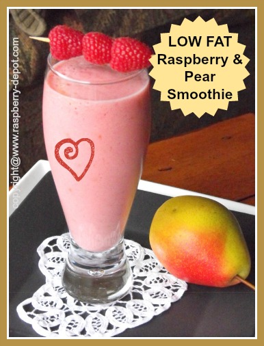 Homemade Low Fat Smoothie Made with Raspberries and Pears, optional whey