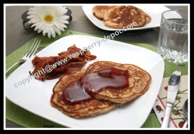 Pancakes with Raspberries and Pecan - Nut and Fruit Pancake Batter
