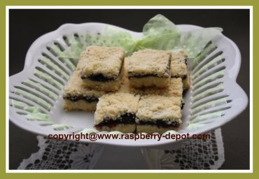 Baked Squares or Bars with Black Raspberry Jam