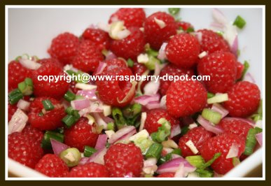 Homemade Relish for Hot Dogs, Sausages, Meats made with Fresh raspberry fruit