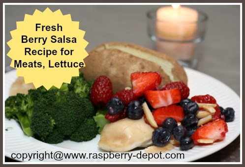 Fresh Fruit Salsa on Chicken Dinner, made with Raspberries, Strawberries and Blueberries
