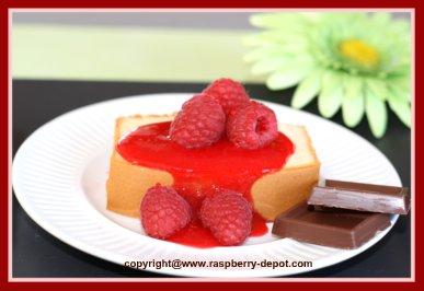 Homemade Raspberry Sauce on Pound Cake