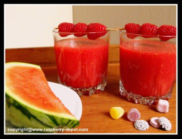 Homemade Raspberry Slush Drink with frozen raspberries and fresh watermelon
