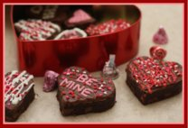 Brownies for Valentine Heart Shaped Decorated