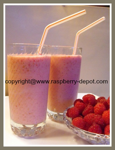 Homemade Raspberry Smoothies made with raspberries, milk, yogurt