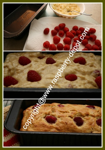 Collage of Pictures Showing the Making of Raspberry Banana Loaf Recipe