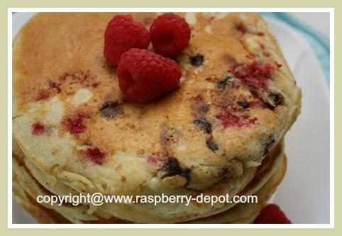 Homemade Raspberry Chocolate Pancakes