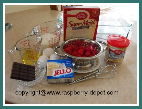Ingredients for a Raspberry Cake Using Purchased Cake Mix