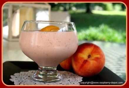 Healthy Raspberry Fruit Smoothie with Yogurt/Skim Milk/Peaches