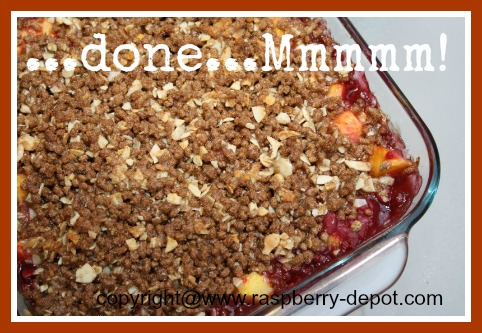 Peach Raspber Crisp with All-Bran Cereal topping