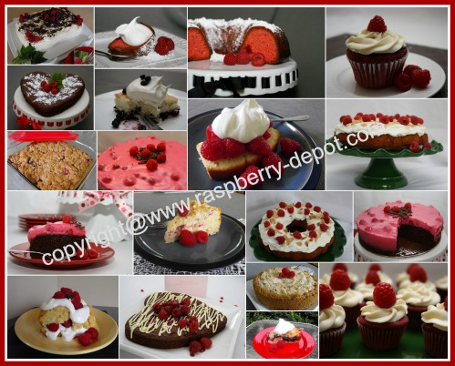 Picture Collage of Raspberry Cakes