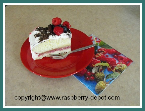 Cake with Fresh Raspberries on Top