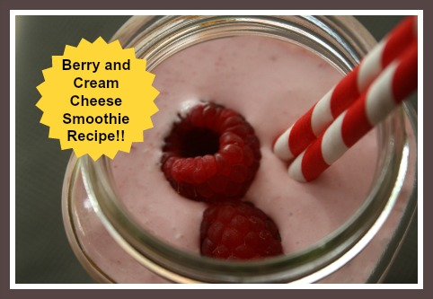 A Raspberry Cheesecake Smoothie made with Cream Cheese