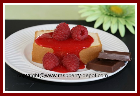 Homemade Raspberry Syrup on Pudding