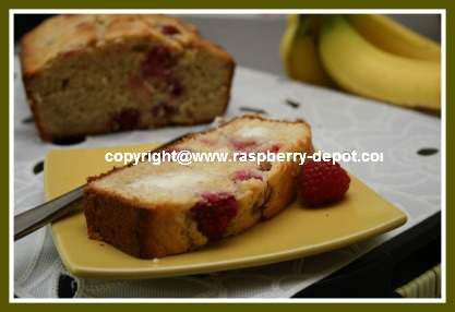 Fresh Banana Bread with Raspberries Homemade Recipe
