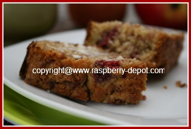 Recipe for Raspberry Apple Bread - Nut Free and Dairy Free Quickbread