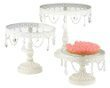 Set of White Iron and Glass Cake Stands