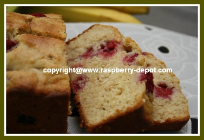 Image of Quick Bread Made with Raspberries and Banana