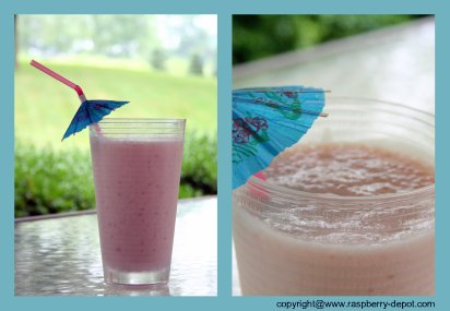 Homemade Smoothie with Whey Protein Powder and fresh or frozen Raspberries and Strawberries