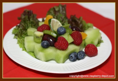 Christmas Fruit Salad Idea - Melon cut out with mixed fruit center