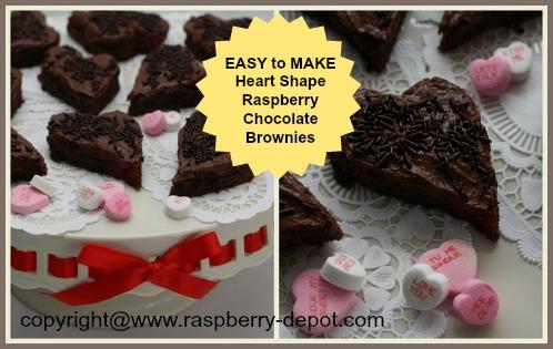 Valentine Brownies, Homemade Chocolate Raspberry Heart Shape Brownies Recipe