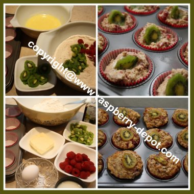 Collage of Pictures Showing How to Make Kiwi Muffins
