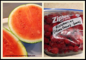 Making a Homemade Drink with Frozen Raspberries and Watermelon, a Slush Drink