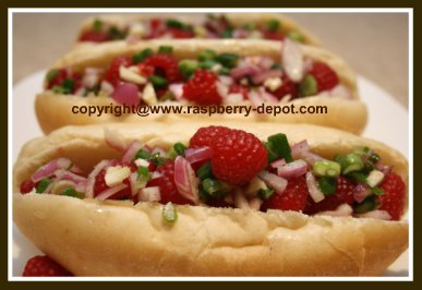 Homemade Relish on Hot Dogs, made with raspberries, a fruit relish recipe
