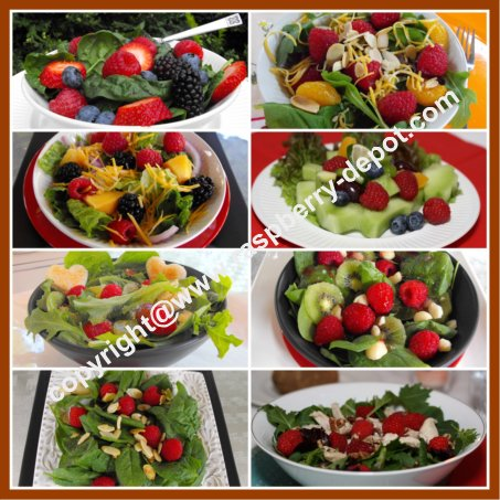 Picture Collage of Raspberry Salads with lettuce greens