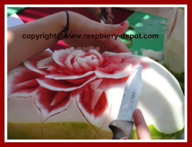 Sculpturing Watermelon into a flower
